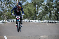 #32 (CRAIN Brooke) USA during practice at round 1 of the 2018 UCI BMX Supercross World Cup in Santiago del Estero, Argentina.
