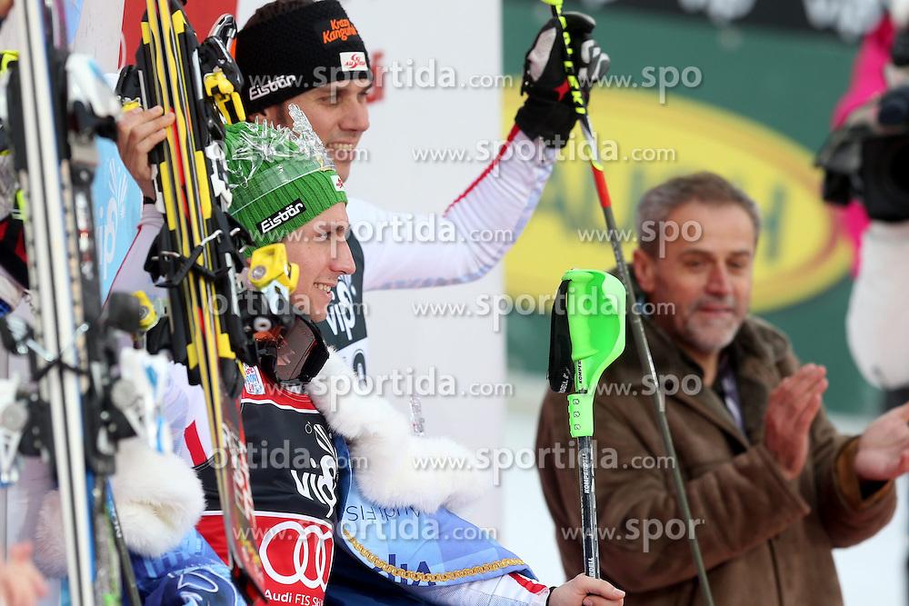 06.01.2013, Crveni Spust, Zagreb, CRO, FIS Ski Alpin Weltcup, Slalom, Herren, Podium, im Bild v.l.n.r. Andre Myhrer (SWE, Platz 2), Marcel Hirscher (AUT, Platz 1), Mario Matt (AUT, platz 3) und Buergermeister von Zagreb Milan Bandic // f.l.t.r. 2nd place Andre Myhrer of Sweden, 1st place Marcel Hirscher of Austria, 3th place Mario Matt of Austria and Zagreb Mayor Milan Bandic celebrate on podium of the mens Slalom of the FIS ski alpine world cup at Crveni Spust course in Zagreb, Croatia on 2013/01/06. EXPA Pictures © 2013, PhotoCredit: EXPA/ Pixsell/ Zeljko Lukunic..***** ATTENTION - for AUT, SLO, SUI, ITA, FRA only *****