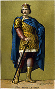 Pepin le Bref (d768) King of the Franks from 751. Son of Charles Martel, father of Charlemagne.  Late 19th century chromolithograph.