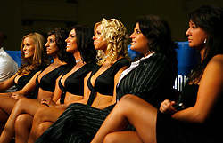 August 31, 2007; Atlantic City, NJ, USA; The ring card girls enjoy the action between Shamone Alvarez and Germaine Sanders during their 12 round NABO Welterweight championship bout at Boardwalk Hall in Atlantic City, NJ.  Alvarez retained his title via unanimous decison.