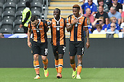 Hull City midfielder Robert Snodgrass (10),Hull City Striker Adama Diomande (20) goal scorer and Hull City striker Abel Hernandez (9) celebrates scoring goal to go 1-0 up  during the Premier League match between Hull City and Leicester City at the KCOM Stadium, Kingston upon Hull, England on 13 August 2016. Photo by Ian Lyall.