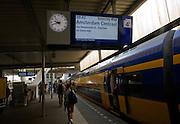 Platform electronic display for Intercity train departure to Amsterdam Centraal, Leiden Central railway station, Netherlands