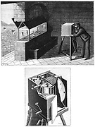 Etienne Jules Marey's (1830-1903) chambre chrono-photographique, the first cine-camera, being used to study movement of creatures in aquarium (top). Below, camera  detail, showing ribbon of light-sensitive paper by either Eastman or Balagny. Engraving published Paris 1903.