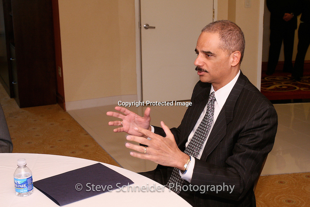 Attorney General Eric Holder in the green room during a National League of Cities event in Washington, DC .