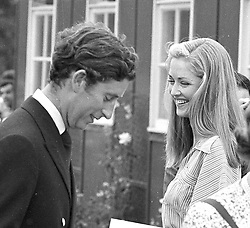 HRH THE PRINCE OF WALES and LADY ROMSEY(then Miss Penelope Eastwood) at polo in July 1975.