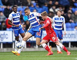 Reading's Michael Hector takes on Cardiff City's Conor McAleny - Photo mandatory by-line: Robbie Stephenson/JMP - Mobile: 07966 386802 - 04/04/2015 - SPORT - Football - Reading - Madejski Stadium - Reading v Cardiff City - Sky Bet Championship