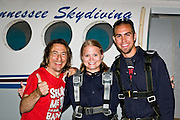 Summer getting ready for her first skydive at West Tennessee Skydiving.