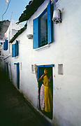 Blue & white homes and woman in yellow. Udaipur, Rajasthan.