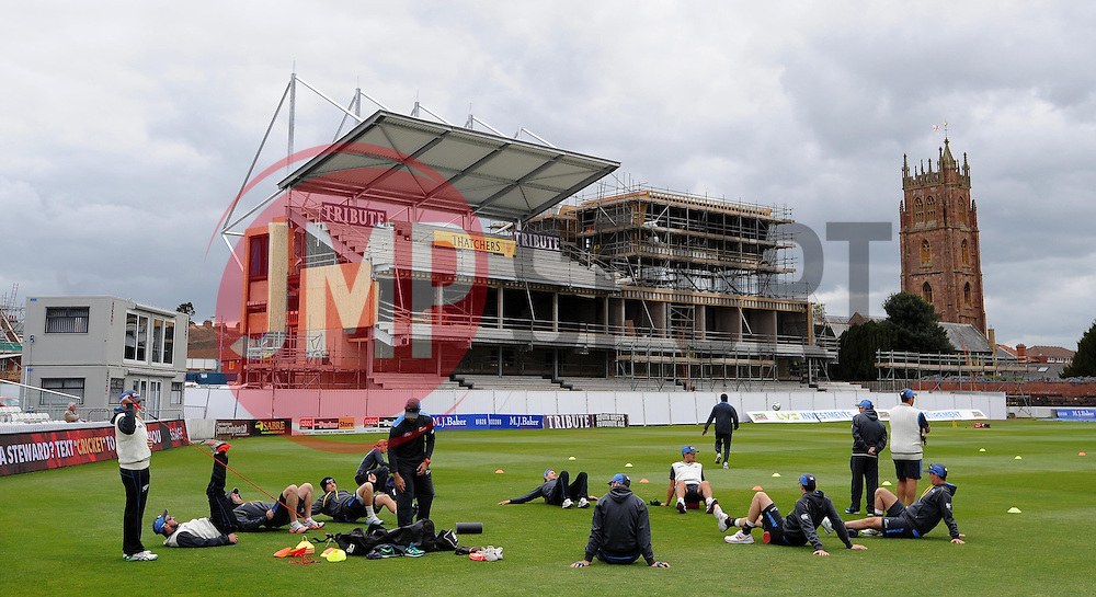The New Zealand team train a day before they play their first match of the England Tour against Somerset at Taunton. - Photo mandatory by-line: Harry Trump/JMP - Mobile: 07966 386802 - 07/05/15 - SPORT - CRICKET - New Zealand Training - The County Ground, Taunton, England.
