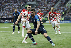 (L-R) Marcelo Brozovic of Croatia, Olivier Giroud of France during the 2018 FIFA World Cup Russia Final match between France and Croatia at the Luzhniki Stadium on July 15, 2018 in Moscow, Russia