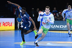 Zarabec Miha and Abalo Luc during 25th IHF men's world championship 2017 match between France and Slovenia at Accord hotel Arena on january 24 2017 in Paris. France. PHOTO: CHRISTOPHE SAIDI / SIPA / Sportida
