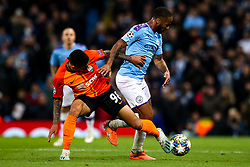 Raheem Sterling of Manchester City takes on Dodo of Shakhtar Donetsk - Mandatory by-line: Robbie Stephenson/JMP - 26/11/2019 - FOOTBALL - Etihad Stadium - Manchester, England - Manchester City v Shakhtar Donetsk - UEFA Champions League Group Stage