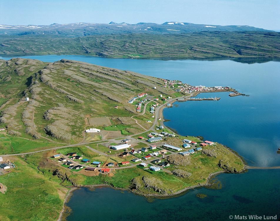 Hólmavík, loftmynd. / Holmavik, aerial. 1994