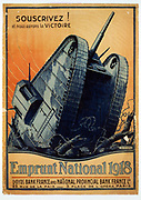 Subscribe! And we shall have Victory.  World War I French poster for 1918 Victory Bonds.  A tank crashes through barbed wire entanglements.