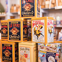 French tins on display at 72% Petanque, a soap shop located in the Panier neighborhood of Marseille, France.