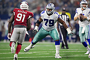ARLINGTON, TX - AUGUST 26:  Chaz Green #79 of the Dallas Cowboy drops back to block Benson Mayowa #91 of the Arizona Cardinals at AT&T Stadium during week 3 of the preseason on August 26, 2018 in Arlington, Texas.  The Cardinals defeated the Cowboys 27-3.  (Photo by Wesley Hitt/Getty Images) *** Local Caption *** Chaz Green; Benson Mayowa