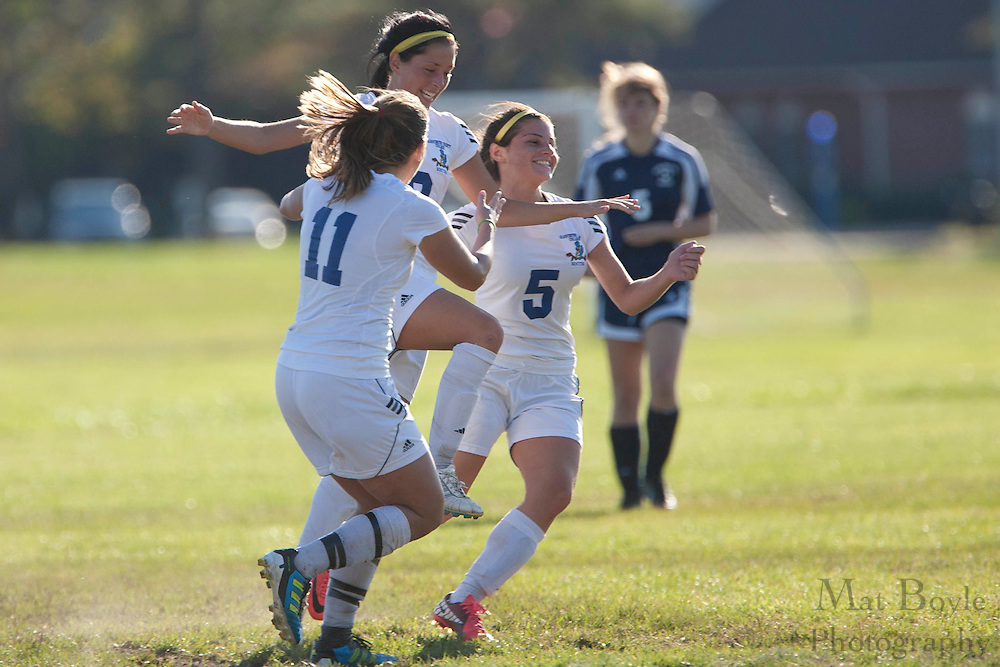 Gloucester County College Sophomore Defender Cristina Wright (11); Gloucester County College Sophomore Midfielder Julia Cendejas (10); Gloucester County College Freshman Defender Jamie Tenerelli (5)..Gloucester County College defeats Middlesex County College 1-0 in a NJCAA Region XIX Semi-Final at Gloucester County College in Sewell, NJ on Tuesday, October 25, 2011.