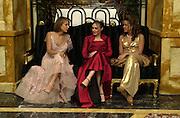 Lady Serena Hervey, Tamara Ecclestone and Selin Fadillioglu. Crillon Haute Couture Ball. Crillon Hotel, Paris. 2 December 2000. © Copyright Photograph by Dafydd Jones 66 Stockwell Park Rd. London SW9 0DA Tel 020 7733 0108 www.dafjones.com