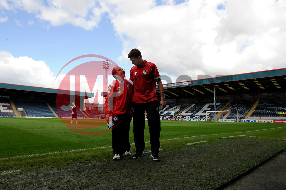 Bristol City Goalkeeper, Frank Fielding speaks to a  - Photo mandatory by-line: Dougie Allward/JMP - Mobile: 07966 386802 23/08/2014 - SPORT - FOOTBALL - Manchester - Spotland Stadium - Rochdale AFC v Bristol City - Sky Bet League One