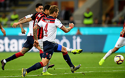 MILAN, May 7, 2019  AC Milan's Suso (C) scores his goal during a Serie A soccer match between AC Milan and Bologna in Milan, Italy, May 6, 2019. AC Milan won 2-1. (Credit Image: © Daniele Mascolo/Xinhua via ZUMA Wire)