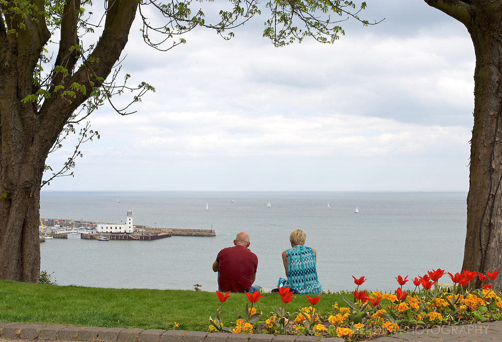 An old couple look at the horizon from a hill overlooking Scarborough bay. North Yorkshire, England. A pairwise selection to stimulate a reflection about the English seaside.