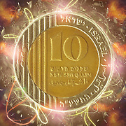 Digitally enhanced image of a Ten New Israeli Shekel coin