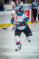 KELOWNA, CANADA - DECEMBER 30: Kaedan Korczak #6 of the Kelowna Rockets warms up with a shot on net against the Victoria Royals on December 30, 2017 at Prospera Place in Kelowna, British Columbia, Canada.  (Photo by Marissa Baecker/Shoot the Breeze)  *** Local Caption ***