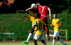 Ibrahim Arafat Mensah of Bravo vs Luka Štor of Aluminij during football match between NK Bravo and NK Aluminij in 5th Round of Prva liga Telekom Slovenije 2019/20, on August 9, 2019 in Sports park ZAK, Ljubljana, Slovenia. Photo by Vid Ponikvar / Sportida