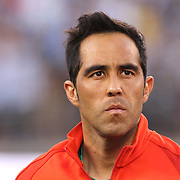 EAST RUTHERFORD, NEW JERSEY - JUNE 26:  Goalkeeper Claudio Bravo #1 of Chile during team presentations before the Argentina Vs Chile Final match of the Copa America Centenario USA 2016 Tournament at MetLife Stadium on June 26, 2016 in East Rutherford, New Jersey. (Photo by Tim Clayton/Corbis via Getty Images)