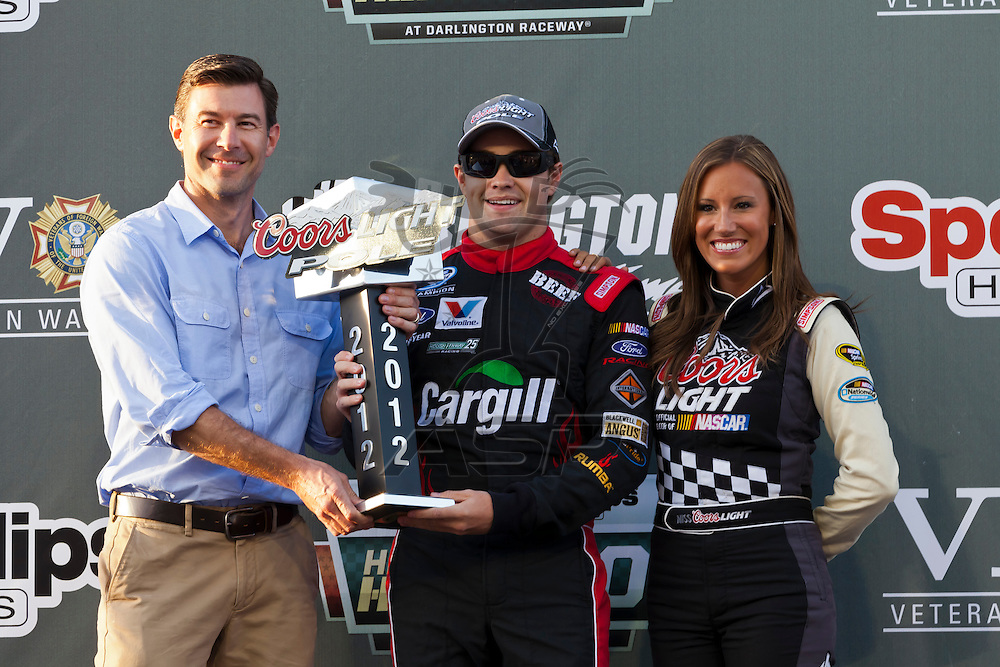 DARLINGTON, SC - MAY 11, 2012:  Ricky Stenhouse, Jr. (6) receives the Coors Light Pole Award for winning the pole for the VFW Sport Clips Help A Hero 200 at the Darlington Raceway in Darlington, SC.