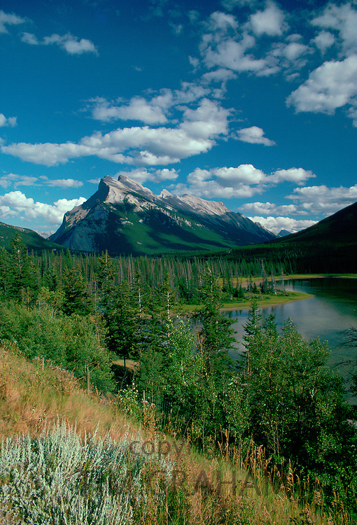 Mount Rundle and the Vermillion Lakes in Banff National Park in Alberta, Canada