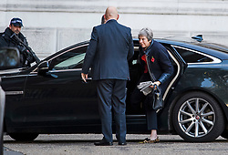 © Licensed to London News Pictures. 29/10/2018. London, UK. British Prime minister THERESA MAY is seen arriving at Downing Street on the day that Chancellor Philip Hammond will present his Budget to Parliament. This will be the last budget before the UK is due to exit the European Union in March of 2019. Photo credit: Ben Cawthra/LNP