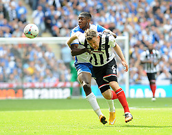 Bristol Rovers' Nathan Blissett challenges Grimsby's Carl Magnay - Photo mandatory by-line: Neil Brookman/JMP - Mobile: 07966 386802 - 17/05/2015 - SPORT - football - London - Wembley Stadium - Bristol Rovers v Grimsby Town - Vanarama Conference Football