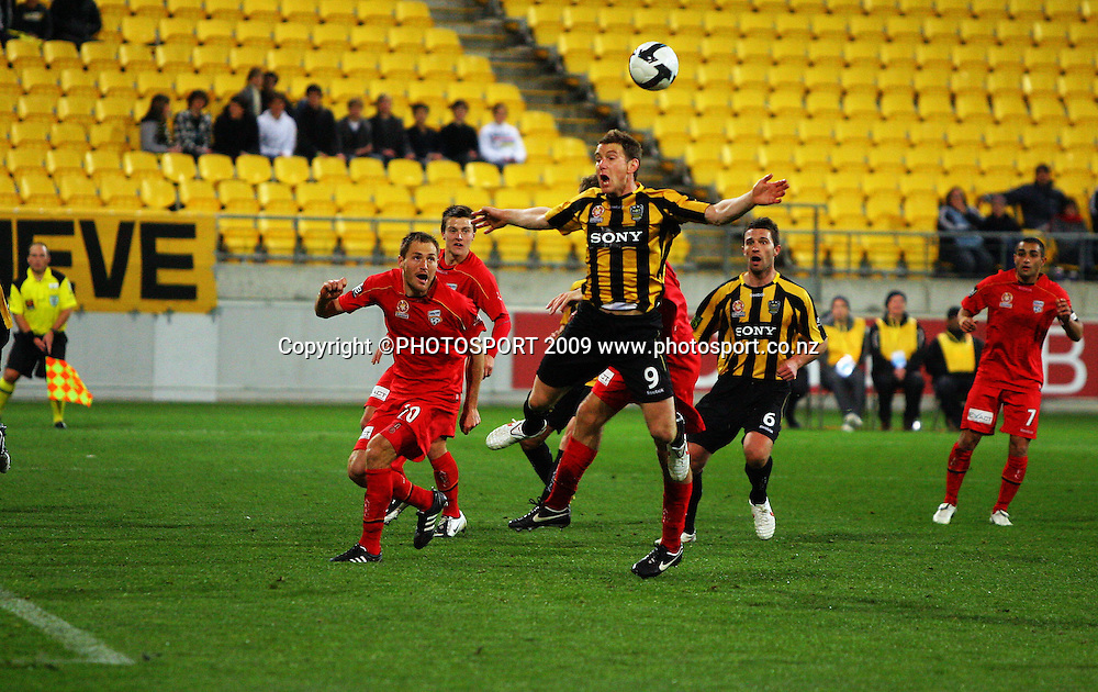 Phoenix' Chris Greenacre appeals for a spot kick after contact in the penalty box.<br /> A-League football - Wellington Phoenix v Adelaide United FC at Westpac Stadium, Wellington. Friday, 4 September 2009. Photo: Dave Lintott/PHOTOSPORT