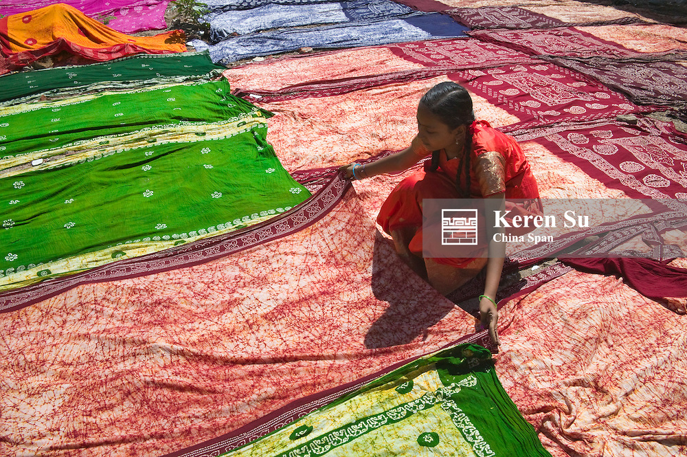 Drying dyed sari, Madurai, India