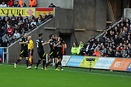 Norwich city's Steven Whittaker ® celebrates with teammates after he scores his sides 1st goal. Barclays Premier league, Swansea city v Norwich city at the Liberty Stadium in Swansea, South Wales on Saturday 8th Dec 2012. pic by Andrew Orchard, Andrew Orchard sports photography,
