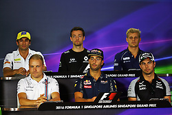 The FIA Press Conference (from back row (L to R)): Felipe Nasr (BRA) Sauber F1 Team; Jolyon Palmer (GBR) Renault Sport F1 Team; Marcus Ericsson (SWE) Sauber F1 Team; Valtteri Bottas (FIN) Williams; Daniel Ricciardo (AUS) Red Bull Racing; Sergio Perez (MEX) Sahara Force India F1.  <br />