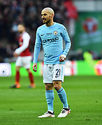 David Silva (21) of Manchester City during the EFL Cup Final match between Arsenal and Manchester City at Wembley Stadium, London, England on 25 February 2018. Picture by Graham Hunt.