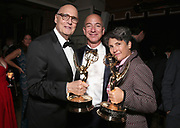 WEST HOLLYWOOD, CA - SEPTEMBER 18:  (L-R) Actor Jeffrey Tambor, Jeff Bezos, CEO of Amazon.com, Inc. and Writer/director Jill Soloway attend Amazon's Emmy Celebration at Sunset Tower Hotel West Hollywood on September 18, 2016 in West Hollywood, California.  (Photo by Todd Williamson/Getty Images for Amazon Studios )