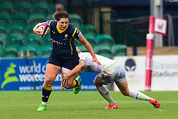 Zoe Bennion of Worcester Valkyries is tackled by Nina Vistisen of Saracens Ladies  - Mandatory by-line: Craig Thomas/JMP - 30/09/2017 - RUGBY - Sixways Stadium - Worcester, England - Worcester Valkyries v Saracens Women - Tyrrells Premier 15s