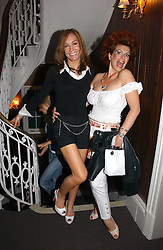 Left to right, TARA PALMER-TOMKINSON and CLEO ROCCOS at the launch party for the 'Second Floor at Kettner' 29 Romilly Street, London W1 on 4th May 2006.<br />