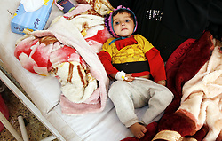 March 9, 2019 - Sanaa, Yemen - A cholera-infected child lies in a bed at al-Sabeen hospital in Sanaa, Yemen, on March 9, 2019. According to the latest data released on World Health Organization website, the cumulative total number of suspected cholera cases in Yemen from Jan. 1, 2018 to Feb. 17, 2019 is 428,317, with 560 associated deaths. Children under five represent 31.0% of all suspected cases. (Credit Image: © Mohammed Mohammed/Xinhua via ZUMA Wire)