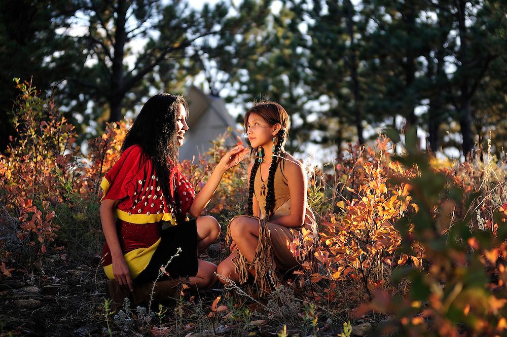Junal Gerlach with daughter Ina,Standing Rock Sioux tribe,Black Hills, South Dakota,USA.(model release 0138)
