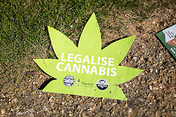 © Licensed to London News Pictures. 20/04/2016. London, UK. A leaflet at the '4/20' demonstration in Hyde Park. Demonstrators gather on 20 April for the legalisation of cannabis. Photo credit : Tom Nicholson/LNP