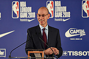 Adam Silver NBA commissioner during the press conference before the NBA London Game match between Philadelphia 76ers and Boston Celtics at the O2 Arena, London, United Kingdom on 11 January 2018. Photo by Martin Cole.