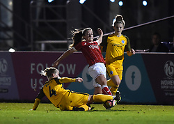 Danni Buet of Brighton and Hove Albion Ladies tackles Chloe Arthur of Bristol City Women - Mandatory by-line: Paul Knight/JMP - 02/12/2017 - FOOTBALL - Stoke Gifford Stadium - Bristol, England - Bristol City Women v Brighton and Hove Albion Ladies - Continental Cup Group 2 South