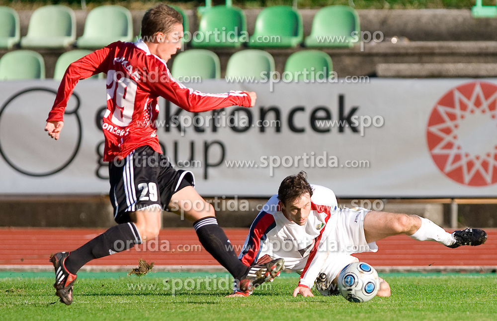 Zan Cankar of Interblock vs Miha Golob of Rudar at football match of Round 17 of Slovenian first league between NK Interblock and NK Rudar Velenje,  on November 7, 2009, in ZAK, Ljubljana, Slovenia.  Interblock won 3:1. (Photo by Vid Ponikvar / Sportida)