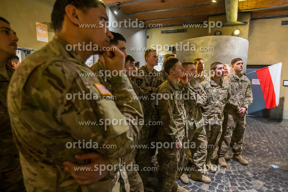 26.03.2015, Warsaw, POL, POL, Dragoon Ride, 2. Kavallerie Regiment der US Army besucht Museum des Warschauer Aufstands, im Bild Besuch im Musem // U.S. Army's 2nd Cavalry Regiment motorcade leave their temporary base in Tapa of Estonia, on March 21, 2015. With more than 40 units of military equipments, the U.S. troops started their way from Estonia to their permanent base in Vilseck of Germany via Estonia, Lithuania, Poland and the Czech Republic. The 1800km road march, dubbed &quot;Dragoon Ride&quot; and on this trip Visit the Museum of the Warsaw Uprising. Warsaw, Poland on 2015/03/26. EXPA Pictures &copy; 2015, PhotoCredit: EXPA/ Newspix/ Piotr Kucza<br /> <br /> *****ATTENTION - for AUT, SLO, CRO, SRB, BIH, MAZ, TUR, SUI, SWE only*****