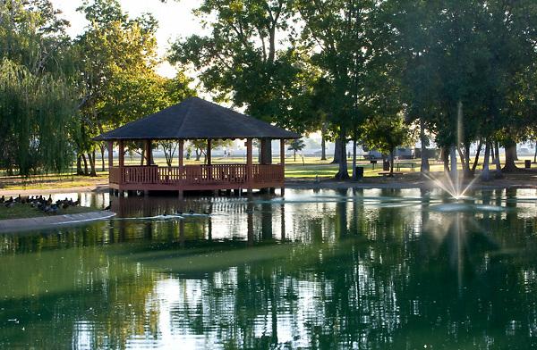 Gazebo on the pond at Storey Park in Houston, Texas