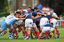 The front rows pop up at a scrum - Photo mandatory by-line: Patrick Khachfe/JMP - Mobile: 07966 386802 30/08/2014 - SPORT - RUGBY UNION - London - Richmond Athletic Ground - London Scottish v Glasgow Warriors - Pre-Season Friendly